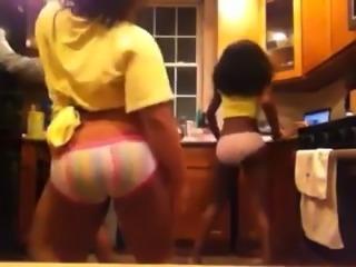 Some naughty black webcam girls were twerking their asses in panties