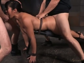 Submissive Asian milf babe facefucked and boned from behind