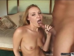 Shaved pussy blonde cock riding hardcore while yelling