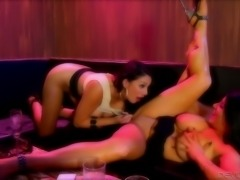 Slutty lesbians fuck each other with new sex toy and lick pussies greedily