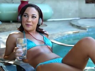 Amara Romani looks super hot in her bikini and she blows like a pro