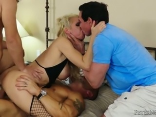 Old stupid cuckold looks a couple of young studs DPing his blond spoiled...