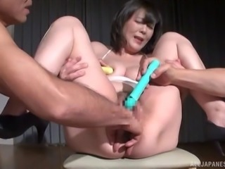 Model fingering her pussy then enjoying toys in threesome porn