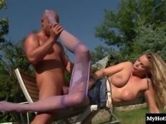 Sexy blonde Ally Ann gets some hot cum on her purple stockings