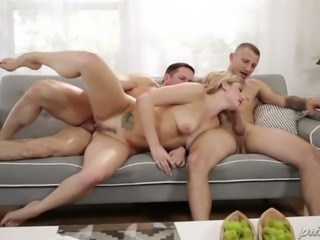 Charming blond haired slut Dahlia Sky enjoyed getting double penetrated rough
