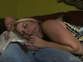 Chubby guy is so lucky to have a bisexual blonde milf wife