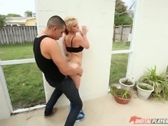 Pigtailed nextdoor chick is fucked by hot tempered stud Bruno Dickems