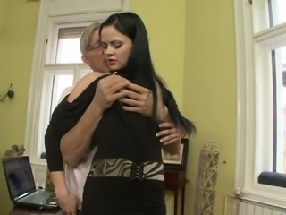 Brunette babe Anastasia Brill gets fucked by a lustful old man