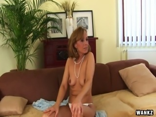 Sluttishly looking old whore Margit enjoys having sex with young client