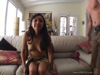 Lovely babe with long hair getting her shaved pussy drilled hardcore in mmf sex