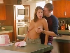 Sweetie with the brown hair spreads legs to be drilled in the kitchen