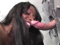 Busty Eunique Styles takes a gloryhole boner in her mouth and pussy