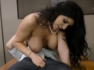 Busty Boss Romi Rain Has Oral With Hung Employee