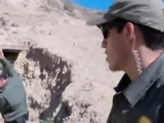 Pale teen blows and bangs patrol guard in van