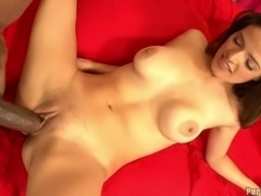 Gigantic black dick slides slowly into a soaked pussy