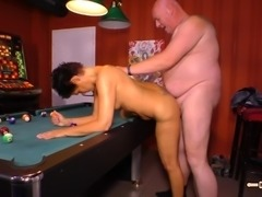 Fat guy's penis is all a randy mature chick wants to feel up her pussy
