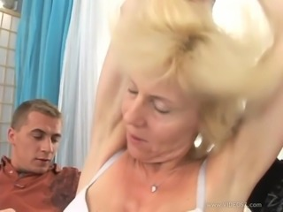 Fabulous blonde with natural tits gets a facial cumshot after getting her face gang banged