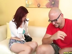 Redhead has some dirty fantasies to be fulfilled in cumshot action