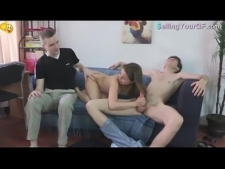 Brunette Babe Sucks A Big Cock
