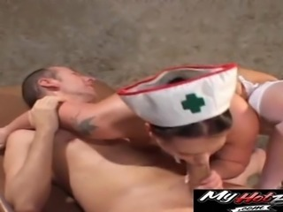 Sexy nurse spreads her legs for a lucky guy's massive boner