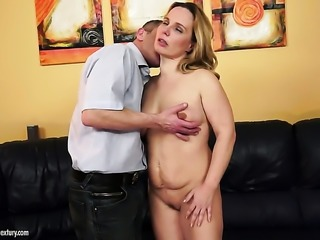 Milf is never enough and takes guys erect worm in her mouth over and over again