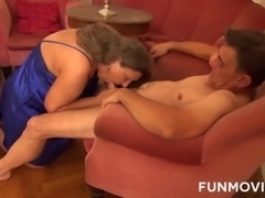 Hot granny with big boobs gets drilled hard by her lover. Horny gal loves cock sucking, but what she loves the most is fucking in a missionary position.