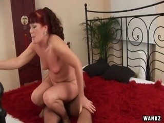 Red haired mature bitch Esmeralda is fucked hard by hot tempered student