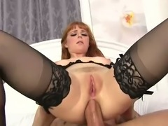Hot blooded man butt fucks red haired stacked hooker Penny Pax in doggy and...