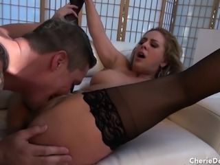 Cherie works her lips and her pussy on a cock like only she knows how