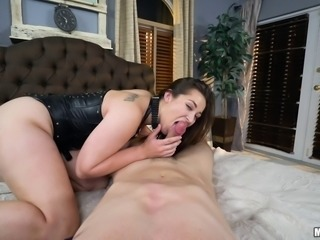 BDSM treatment for a sexy brunette in leather is so good