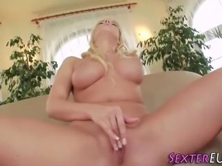 Big titted blonde toys
