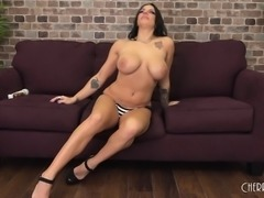 Buxom brunette with sexy legs and a fabulous ass loves to get pounded