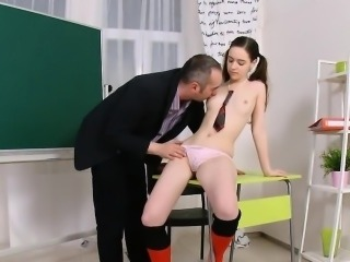 Lovesome schoolgirl is seduced and plowed by her elderly men