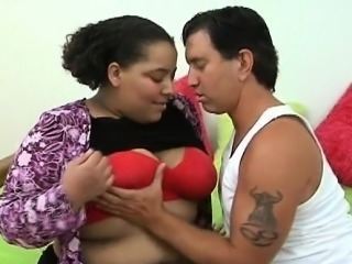 Man fingers and fucks luscious pussy of one chunky woman