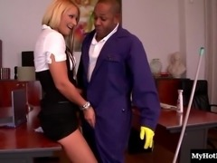 Handsome janitor's monster cock is all a cute lady wants to ride