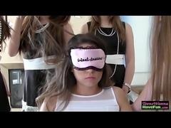 Blindfolded teen eats