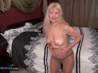 Old mature granny blonde small tits showing nipples masturbating hairy pussy cunt