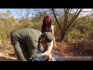 Oficer of patrol agrees to help redhaired babe to cross the border