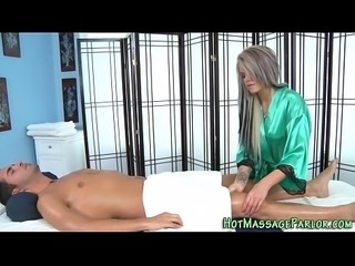 Grey haired masseuse jizz