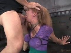 Lady with big balloons treated to some pain for being a bad girl