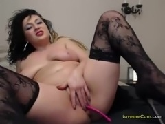 Check out this hot milf enjoying a nice pink vibrator in her pussy