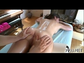 Oil massage and giant sextoy