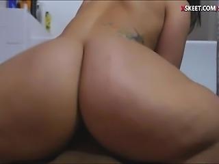 Teen stepsis screwed so hard by fat cock in the bathroom