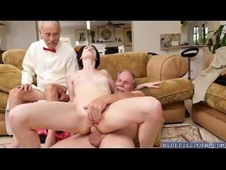 Hot brunette Alex Harper takes an old men dick
