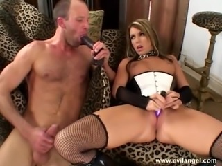 Randy slut sucks cock before pegging stud with strap on