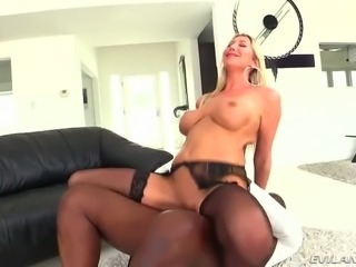 Kinky black man fucks yummy blond housewife Lexi Lowe in reverse and mish poses tough