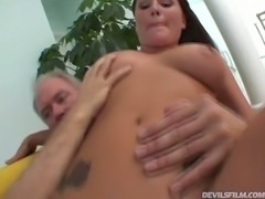 Horny aged man fucks asshole and kitty of lusty petite GF Dillan Lauren in...