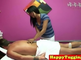 Asian masseuse wanking clients dick