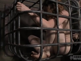 Stripped slave small tits teased with sex machine in BDSM