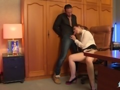 Businessman wants to make a pretty lady moan during a shag
